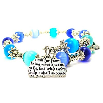 I Am Far From Being What I Want to Be Cat 's Eye Wrap Charm Bracelet inブルー