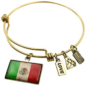 Expandable Wire BangleブレスレットMexican Flag With A Vintage Look、NEONBLOND