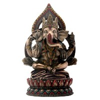 Seatedガネーシャon Lotus Collectible Hinduism Sculpture