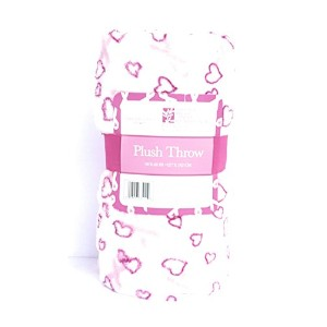 Breast Cancer Awareness Plush Throw BlanketホワイトwithピンクHearts、ライトピンクリボン50 x 50