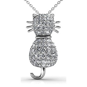 Fappac猫ペンダントネックレスEnriched with Swarovski Crystals