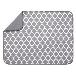 S&T 497500 Microfiber Dish Drying Mat, X-Large, 18 by 24-Inch, Grey/White Trellis by S&T