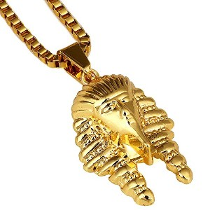 mcsays 18KGoldチタンスチールゴールドメッキEgypt Pharaoh KingペンダントHiphopチェーンネックレス