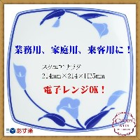 CANION WITS ブルーリリー 9524 BLUE LILY 【 スクエアサラダプレート 】 あす楽対応 業務用 新生活 カフェ ランチ ディナー レストラン シンプル 上品 陶器 人気 優雅...