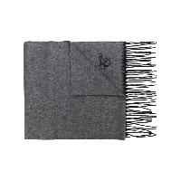 Canali - embroidered logo scarf - men - シルク/カシミア - ワンサイズ