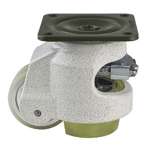 FOOTMASTER GDR-80F-U Urethane Wheel and Pad Ratcheting Leveling Caster, 1100 lbs, Top Plate 3 17/32...