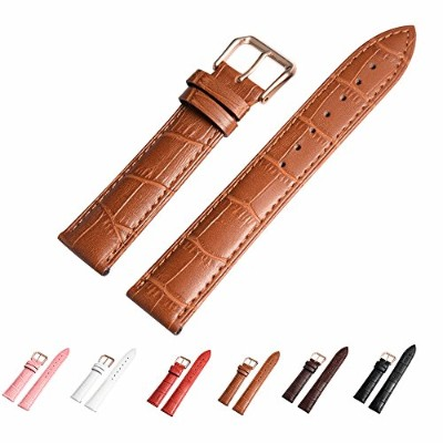 (20mm, light brown) - Leather Watch Band with Rose Gold Watch Buckle - Choices of Colour & Width ...