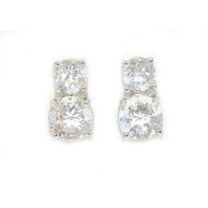 3 Ct White Topaz Round Double Stud Earrings .925 Sterling Silver Rhodium Finish