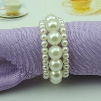 Tangpanイミテーションパールナプキンリングwith Elastic for Wedding andホテルwithソフト装飾のナプキンリング ホワイト CJK