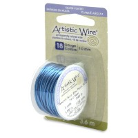 Artistic Wire 18-Gauge Silver Plated Peacock Blue Wire, 4-Yards by Artistic Wire