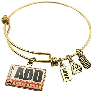Expandable Wire Bangleブレスレット空港コード追加Addis Ababa、NEONBLOND