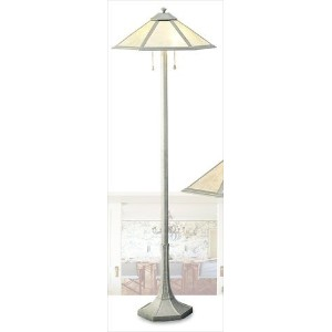 Cal BO-495 Two Light Floor Lamp, Antique Silver Finish with Natural Mica Glass by Cal