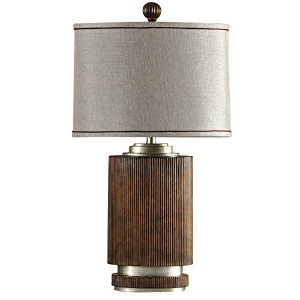 Stylecraft L32576 Ribbed Wood-Silver Accents Table Lamp, Winthrop by Stylecraft Home Collection