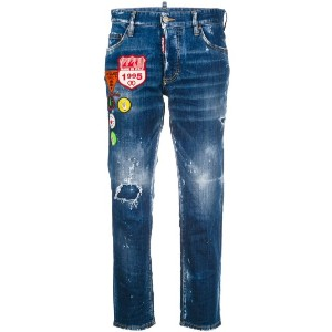 Dsquared2 - cropped distressed jeans with patches - women - コットン/スパンデックス/ポリエステル - 38