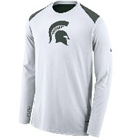 Michigan State Spartans Nike 2017-2018 Elite Basketball Performance Long Sleeve Shooter Top T-Shirt...