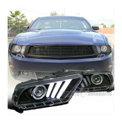 フォード マスタング ヘッドライト 2010-2014 Black Mustang Projector Headlights Hi-Tech Look SEQUENTIAL LED DRL 2010...