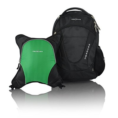Obersee Oslo Diaper Bag Backpack with Detachable Cooler, Black/Green by Obersee