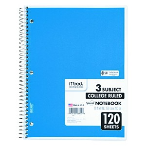 Spiral Bound Notebook, College Rule, 8-1/2 x 11, White, 120 Sheets/Pad (並行輸入品)
