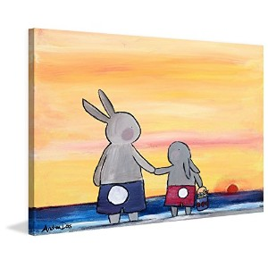 """Marmont Hill mh-adrdos-03-c-18"""" Andrea Beach Bunnies """" by Andrea Doss絵画印刷Wrappedキャンバス18x 12..."""