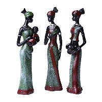 Greencherry African GirlポリレジンエキゾチックWoman Sculpture Tribal Lady Figurine Statue Decorコレクションパックof 3...