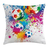Soccerスロー枕クッションカバーby Ambesonne、Colored Splashes All Over Soccer BallsスコアWorld Cup Championship...