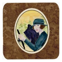 "Caroline 's Treasures ss8549fc Lady Driving with Her Briard Foam Coasters ( Set of 4 )、3.5 "" H x 3..."