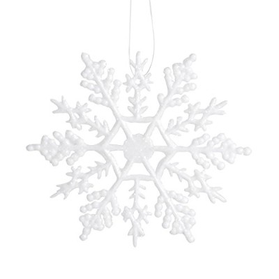 Darice 4-inch Glitter Snowflake 10ピースornament- per package,ホワイト 1 Pack ホワイト 1619-61