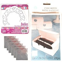 Bakeryボックスwith Seal andなドイリー 48 Boxes with 72 Doilies ホワイト