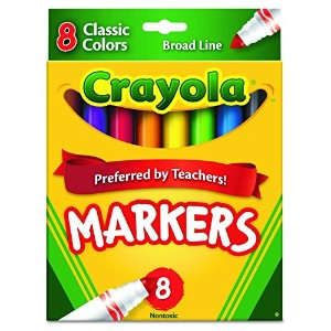 Non-Washable Markers, Broad Point, Classic Colors, 8/Set (並行輸入品)