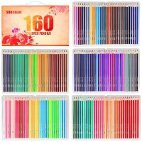 soucolor 160色鉛筆ソフトコアスケッチ図面アートColored Pencils with優れたペットボックスfor Adult Coloring Book工芸プロジェクト、学生& Kids...