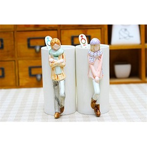 Valetines日ギフトBoy and Girl Couple Matchingマグカップ茶コーヒーミルク水カップギフトウェディングLover Hugギフトセットwithスプーン