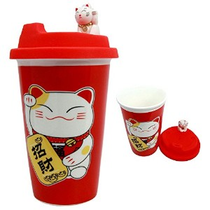 Happy Sales hsem-lcrd、Maneki Neko Lucky CatセラミックTall Drink Eco Mug Cup with Silicone Lidレッド