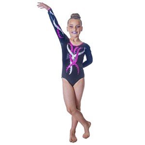 Deluxe Edition : Girls Sleeved GymnasticレオタードブラックwithピンクandシルバーFlame ( 12–13歳)