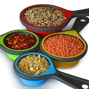 8pcs CollapsibleシリコンMeasuring Cups Measuring Spoons Perfect for Baking、コーヒー、補助食品、小麦粉、穀物、Lentils...