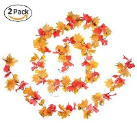 "78 ""人工メープルリーフand Pumpkins garland-dearhouse Decorated Maple Leaf Garland Vine with Pumpkin植物Hangingラ..."