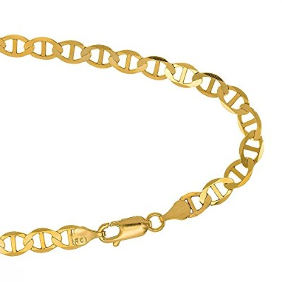 """14k Solid Yellow Gold 3.2 mm Mariner Chain Anklet 10"""" w/Lobster Claw Clasp"""