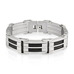 """Crucible Stainless Steel Dual Finish Cable Inlay Link Bracelet–8.5"""" ( 18.5MM )"""