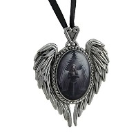 Anne Stokes Prayer For The Fallen Angel Wingカメオネックレス