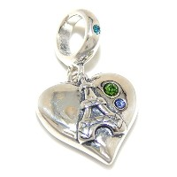 Proジュエリー925Solid Sterling Silver Dangling ' Paris ' Heart withエッフェル塔とブルーとグリーンCZチャームビーズ