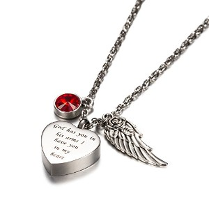 God Has You In His Arms with Angel Wing Charm鋼火葬ジュエリー記念品Memorial Urnネックレス誕生石クリスタルby AMIST