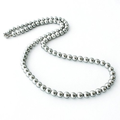 One&Only Jewellery 貝パール 8mm ロングネックレス(グレー/70cm)