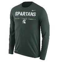 Michigan State Spartans Nike 2017 Sideline Staff Long Sleeve Dri-FIT Legend Long Sleeve T-Shirt メンズ...