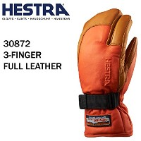 HESTRA(ヘストラ) ヘストラ スキーグローブ ミトン 3-FINGER FULL LEATHER FLAME RED NATURAL BROWN(30872-540700)(17-18...