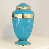 Cremation Urn–ピンクFuneral Urn for Human灰–Burial Urn withラッカー仕上げ–100%真鍮 L ブルー