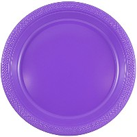 (1) - JAM Paper Round Plastic Party Plates - Small - 18cm - Purple - 20/pack