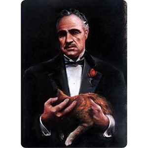 Godfather and Cat Portrait Tin Sign 8 x 12 in
