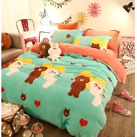 line friends bedding set  CONY brown pillow cover sheet cover duvet cover kids