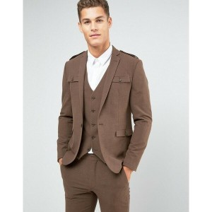 エイソス メンズ ジャケット&ブルゾン アウター ASOS Skinny Suit Jacket In Brown With Military Styling Brown