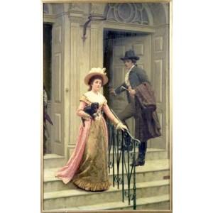 油絵 Edmund Blair Leighton_ お隣さん