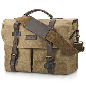 lifewit DSLRカメラバッグキャンバスヴィンテージレザーMessenger Shoulder Bag with Laptop Compartment、カーキ